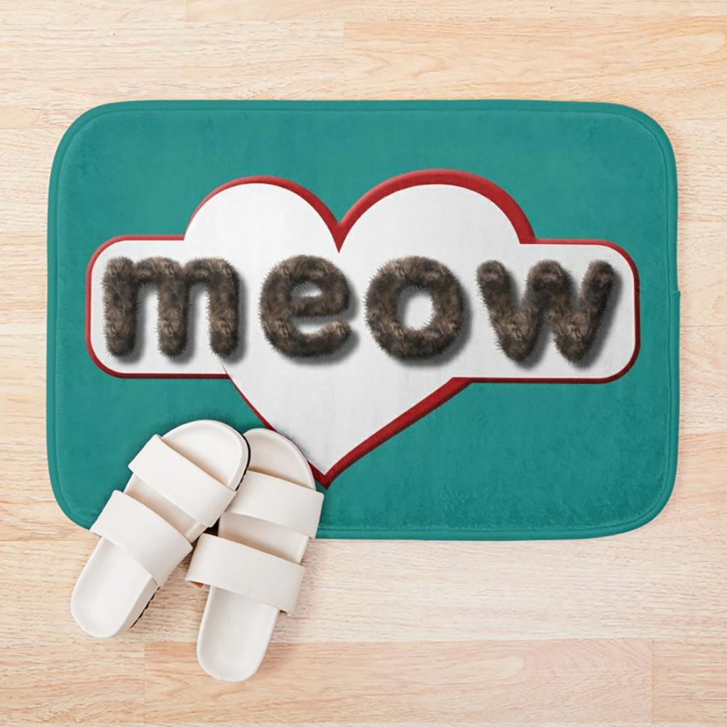 """A """"meow"""" bath mat."""