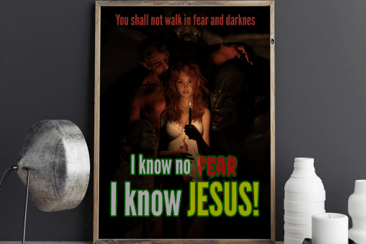 I know no fear, I know Jesus! The tipsy red fox design.