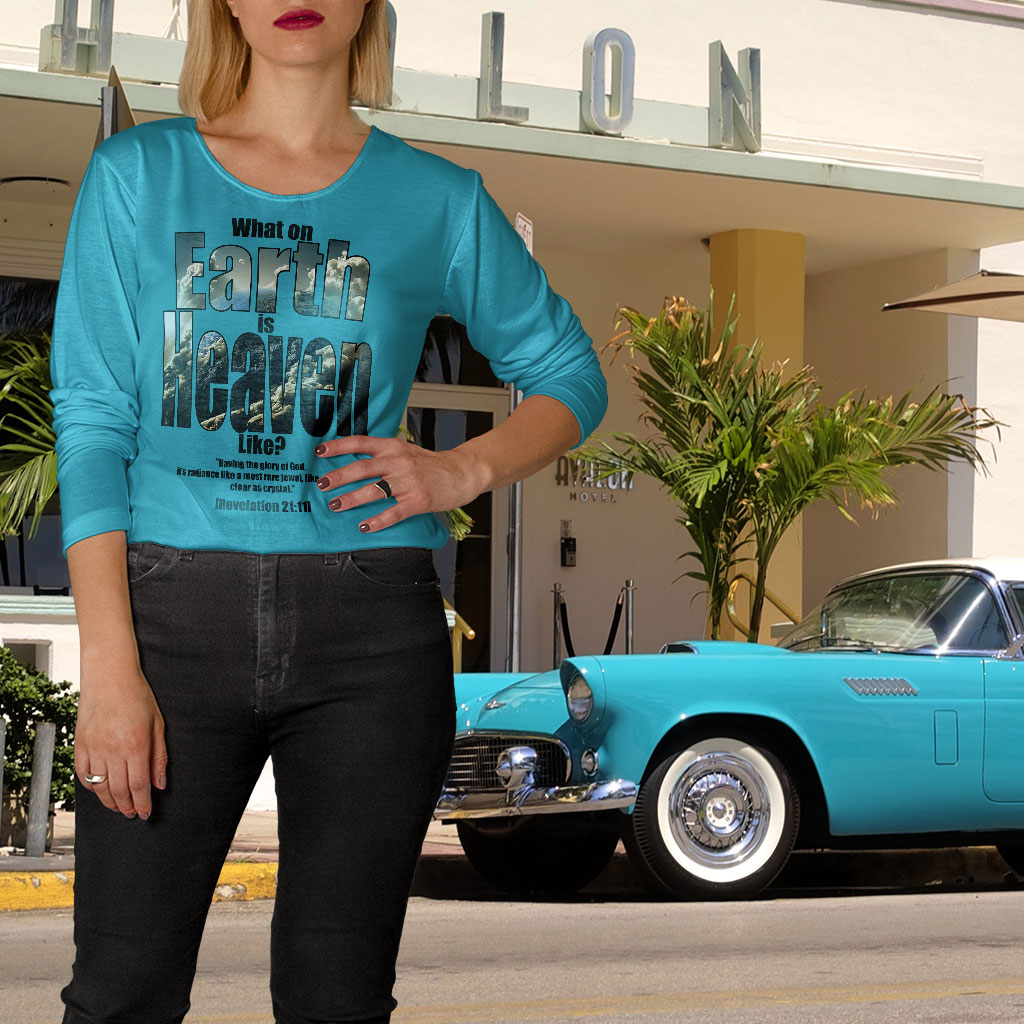 TheTipsyRedFox designed long sleeves t-shirt on our lovely model Carol outside the Avalon hotel in Miami, Florida, USA