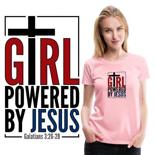 Girl Powered by Jesus - Christian clothing online.