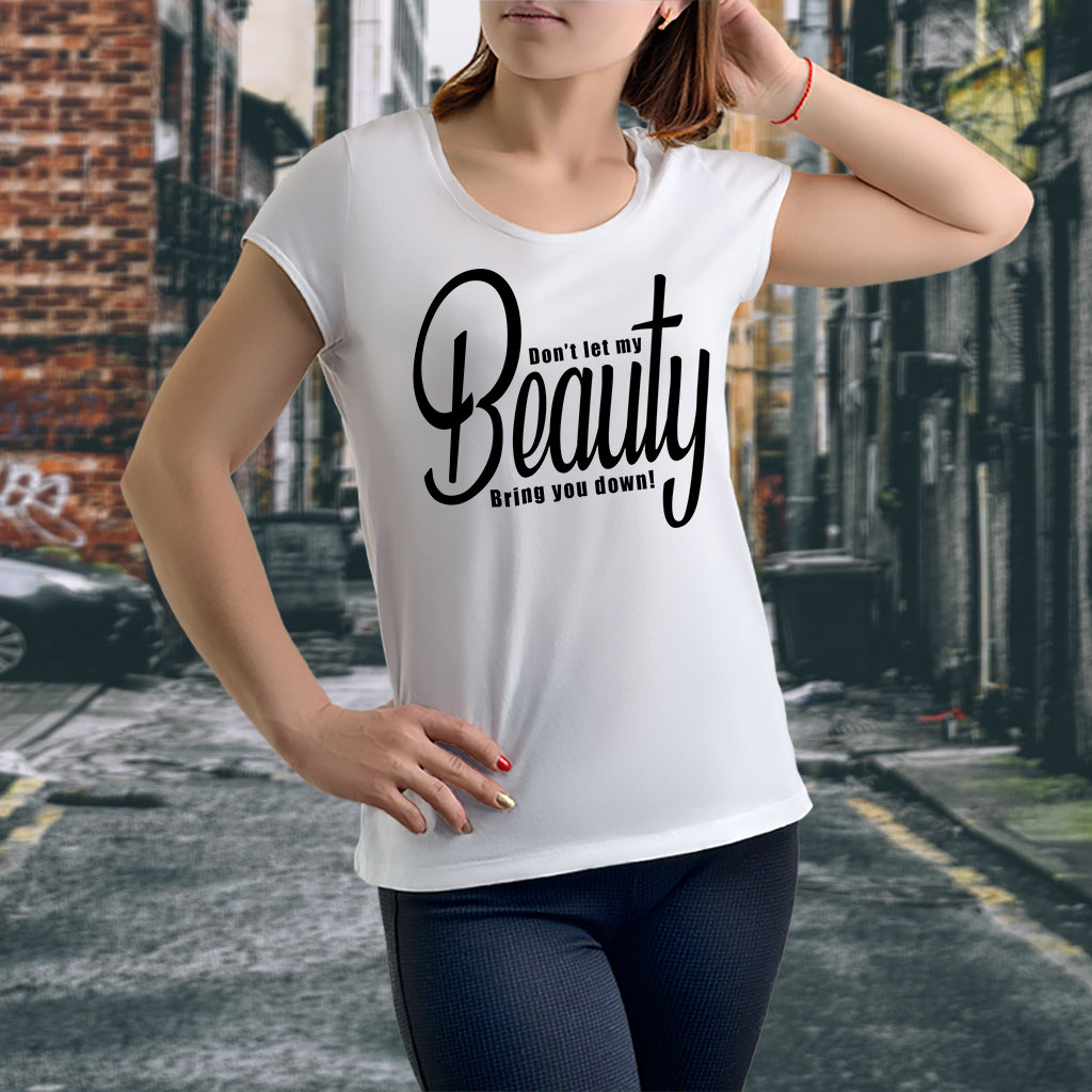 A beautiful woman wearing t-shirt with a beautiful text.