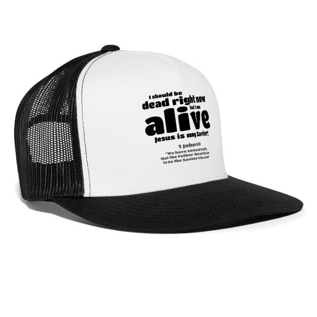 Christian trucker cap for men.