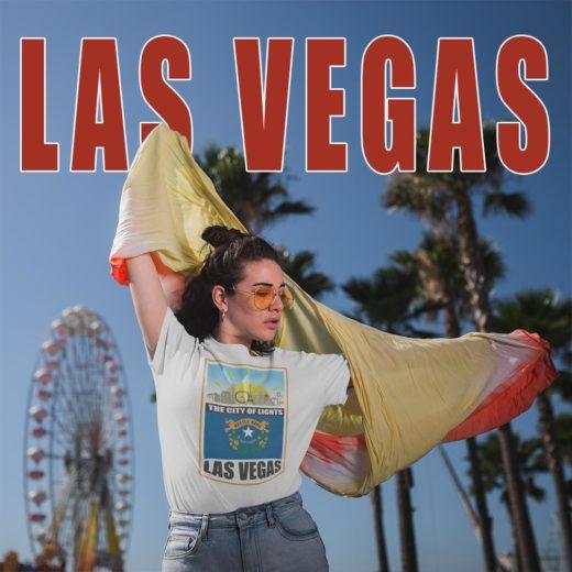 Festival girl in Las Vegas wearing a cool Las Vegas - Nevada t-shirt.