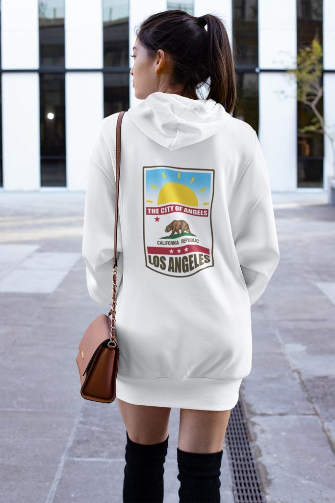 Woman in Los Angeles wearing hoodie dress.