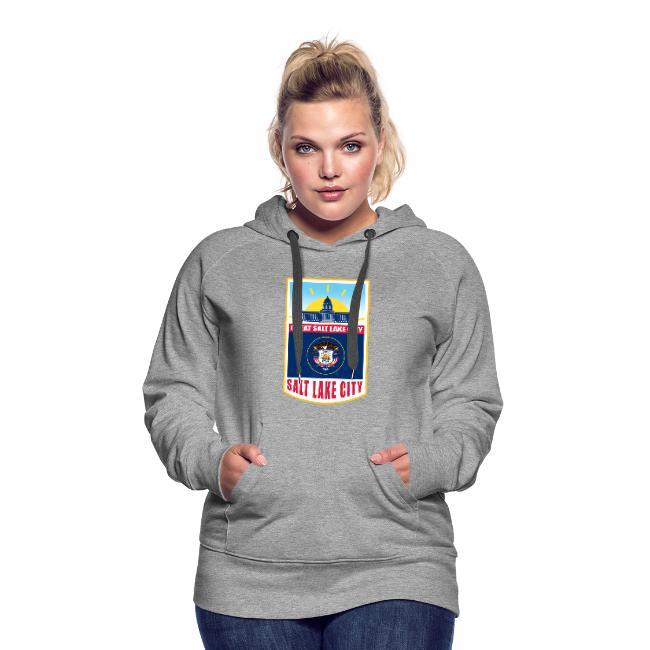 Utah flag emblem on women's hoodie.